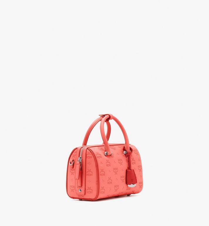 MCM Essential Boston Bag in Monogram Leather Pink MWB9SSE52O3001 Alternate View 2