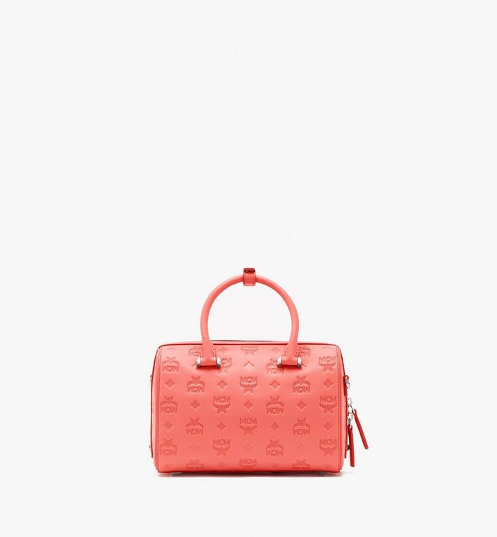 MCM Essential Boston Bag in Monogram Leather Pink MWB9SSE52O3001 Alternate View 4