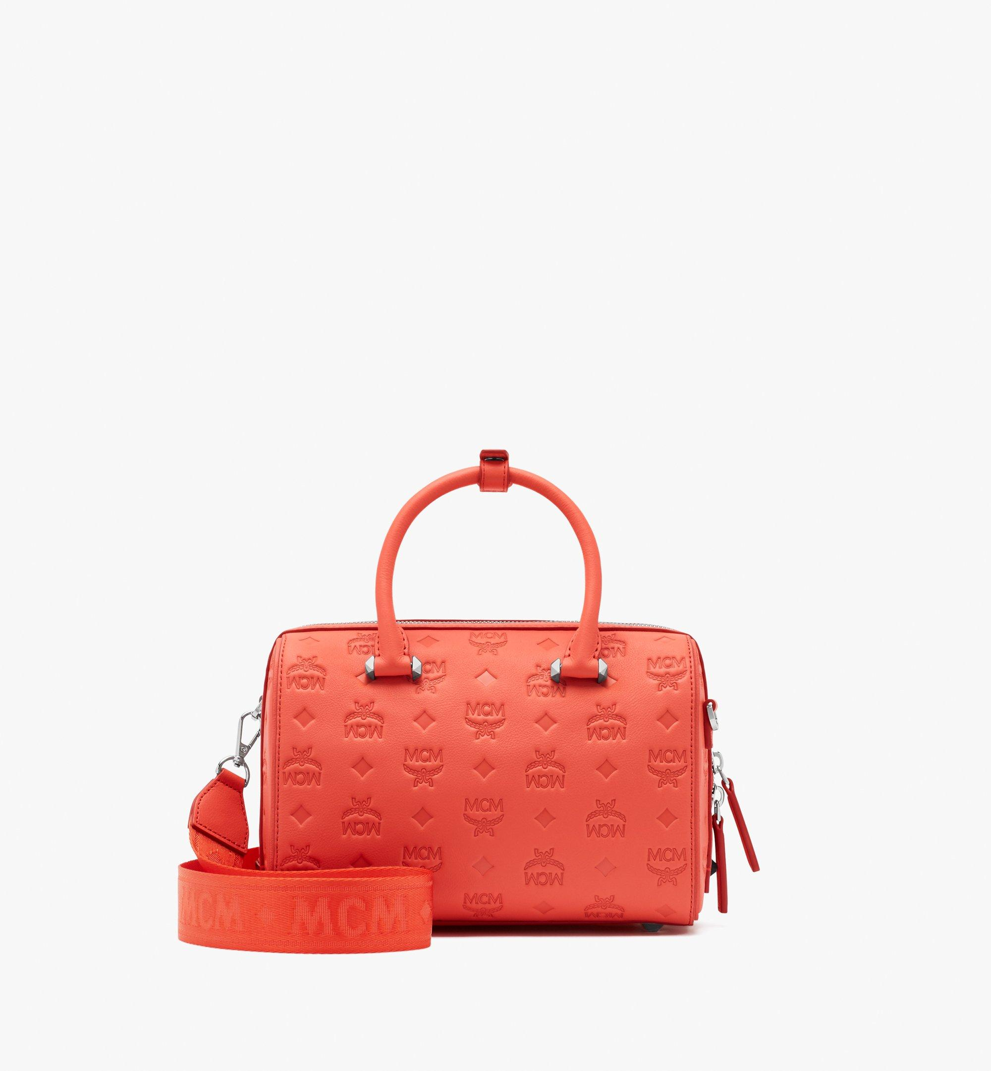 MCM Essential Boston Bag in Monogram Leather Pink MWB9SSE52O3001 Alternate View 5