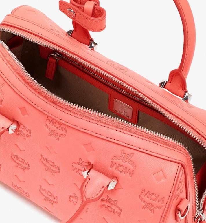 MCM Essential Boston Bag in Monogram Leather Pink MWB9SSE52O3001 Alternate View 6
