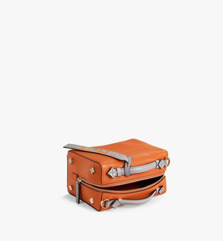 MCM Milano Boston Bag in Color Block Goatskin Leather Orange MWBAADA01O4001 Alternate View 3