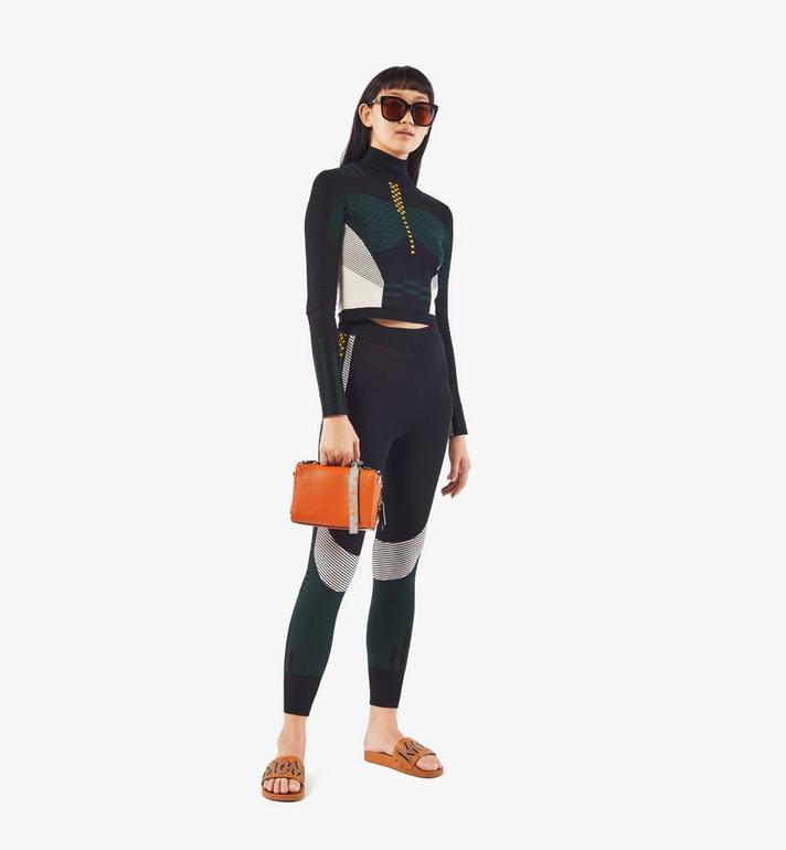 MCM Milano Boston Bag in Color Block Goatskin Leather Orange MWBAADA01O4001 Alternate View 6