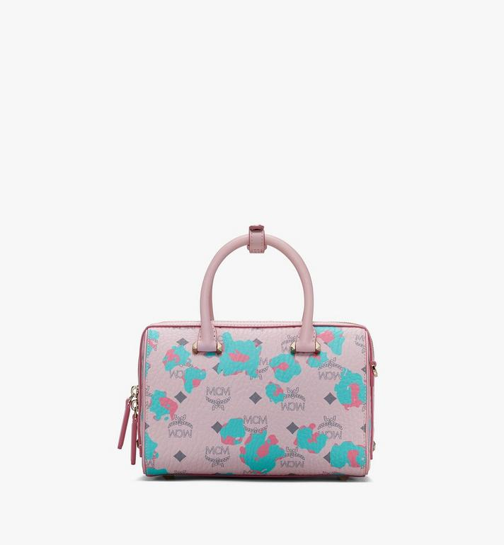 MCM Essential Boston Tasche mit geblümtem Leopardenmuster Pink MWBASSE01QI001 Alternate View 3