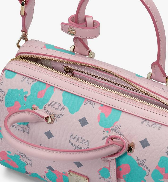 MCM Essential Boston Bag in Floral Leopard Pink MWBASSE01QI001 Alternate View 4