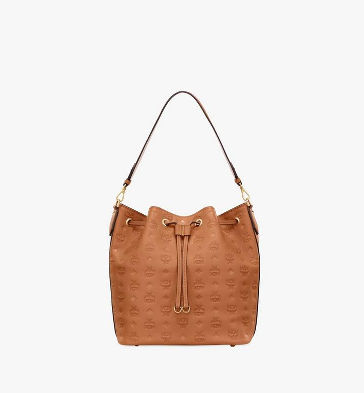 MCM Essential Drawstring Bag in Monogram Leather Cognac MWD9SSE76CO001 Alternate View 1