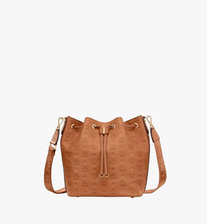 MCM Essential Drawstring Bag in Monogram Leather Cognac MWD9SSE76CO001 Alternate View 2