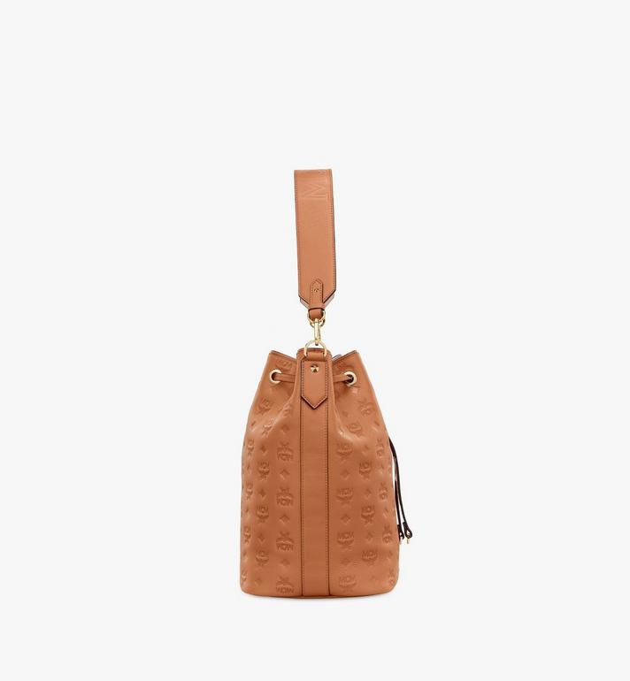 MCM Essential Drawstring Bag in Monogram Leather Cognac MWD9SSE76CO001 Alternate View 3