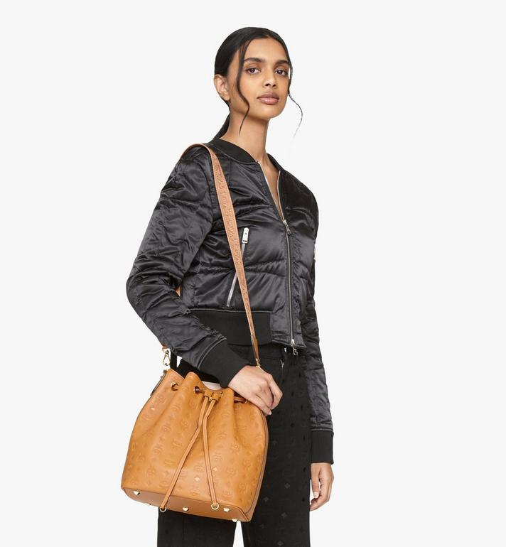 MCM Essential Drawstring Bag in Monogram Leather Cognac MWD9SSE76CO001 Alternate View 8