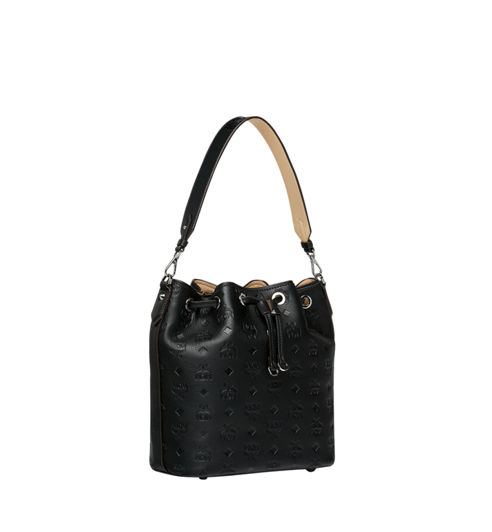 MCM Essential Drawstring in Monogram Leather Black MWD9SSE79BK001 Alternate View 2