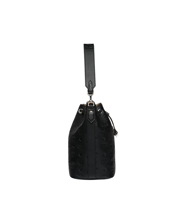 MCM Essential Drawstring in Monogram Leather Black MWD9SSE79BK001 Alternate View 3