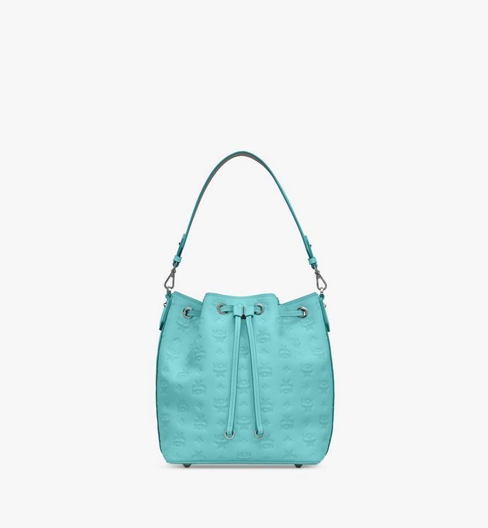 MCM Essential Drawstring Bag in Monogram Leather Blue MWD9SSE79H3001 Alternate View 2