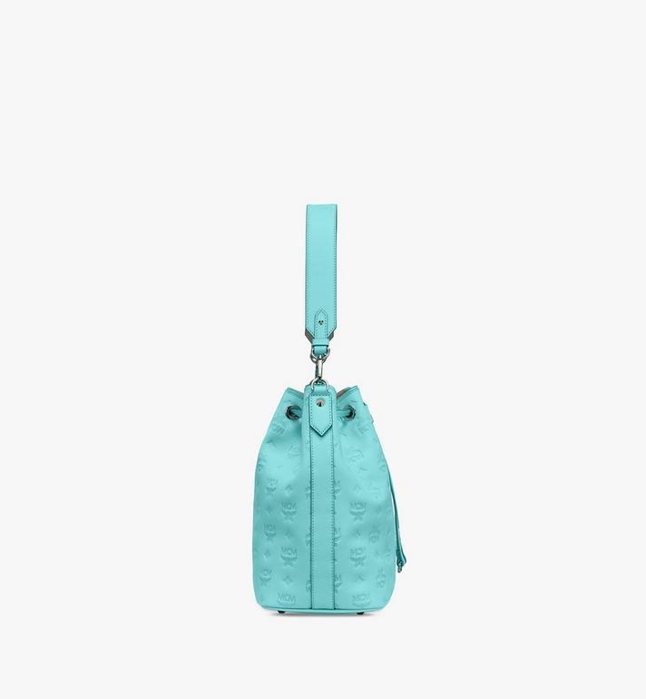 MCM Essential Drawstring Bag in Monogram Leather Blue MWD9SSE79H3001 Alternate View 3
