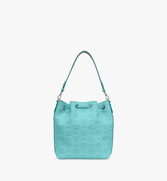 MCM Essential Drawstring Bag in Monogram Leather Blue MWD9SSE79H3001 Alternate View 4