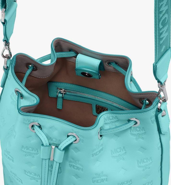 MCM Essential Drawstring Bag in Monogram Leather Blue MWD9SSE79H3001 Alternate View 5