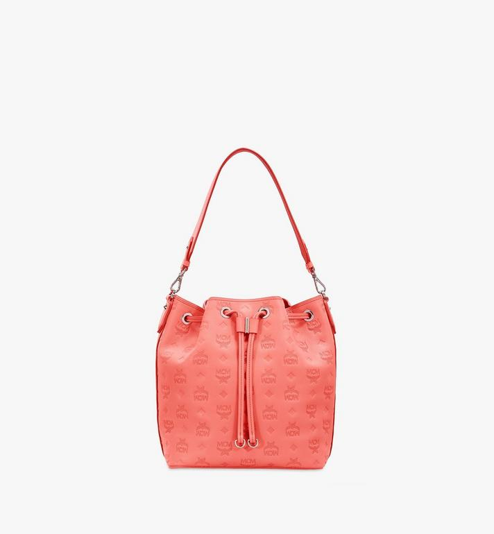 MCM Essential Drawstring Bag in Monogram Leather Orange MWD9SSE79O3001 Alternate View 2