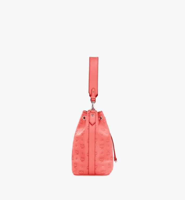 MCM Essential Drawstring Bag in Monogram Leather Orange MWD9SSE79O3001 Alternate View 3