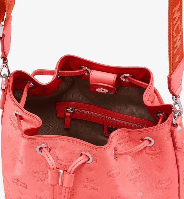 MCM Essential Drawstring Bag in Monogram Leather Orange MWD9SSE79O3001 Alternate View 5