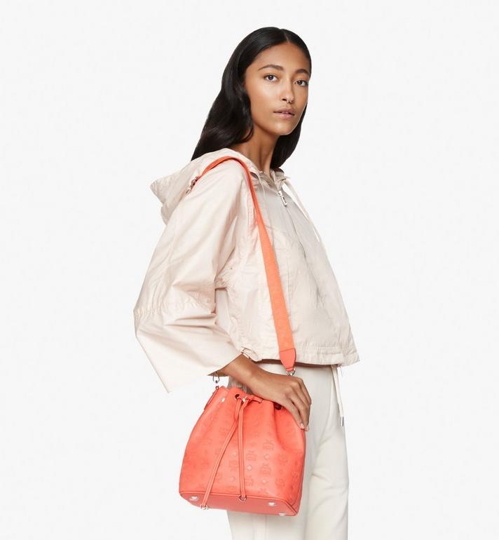 MCM Essential Drawstring Bag in Monogram Leather Orange MWD9SSE79O3001 Alternate View 6