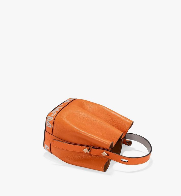 MCM Milano Drawstring Bag in Color Block Goatskin Leather Orange MWDAADA03O4001 Alternate View 3