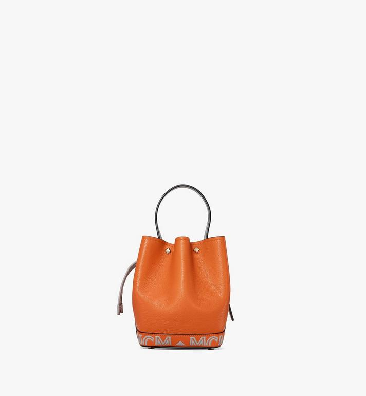 MCM Milano Drawstring Bag in Color Block Goatskin Leather Orange MWDAADA03O4001 Alternate View 4