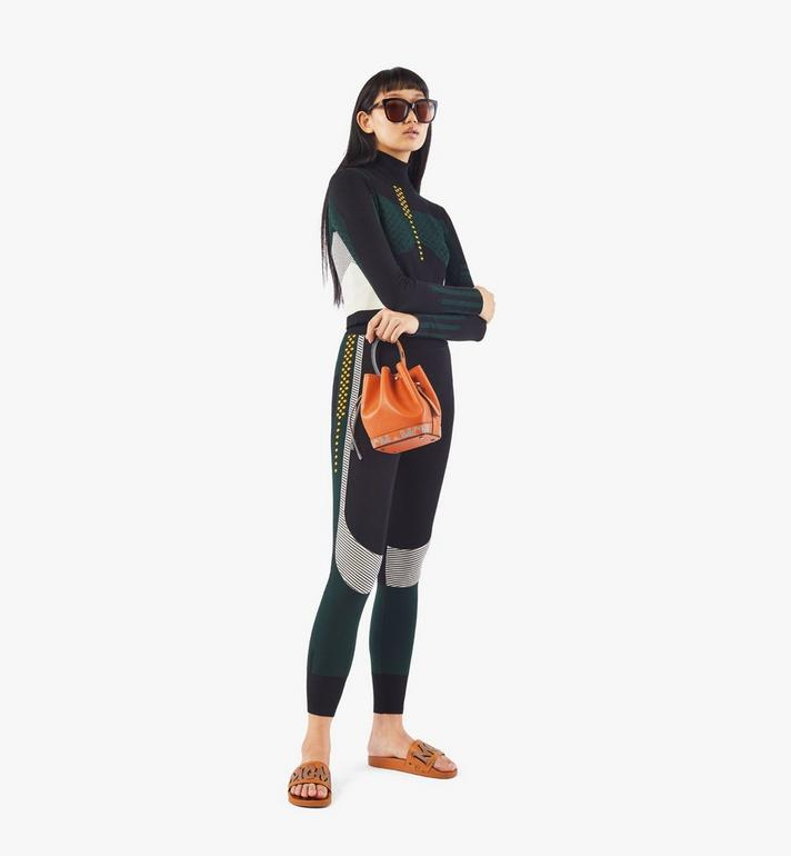 MCM Milano Drawstring Bag in Color Block Goatskin Leather Orange MWDAADA03O4001 Alternate View 6