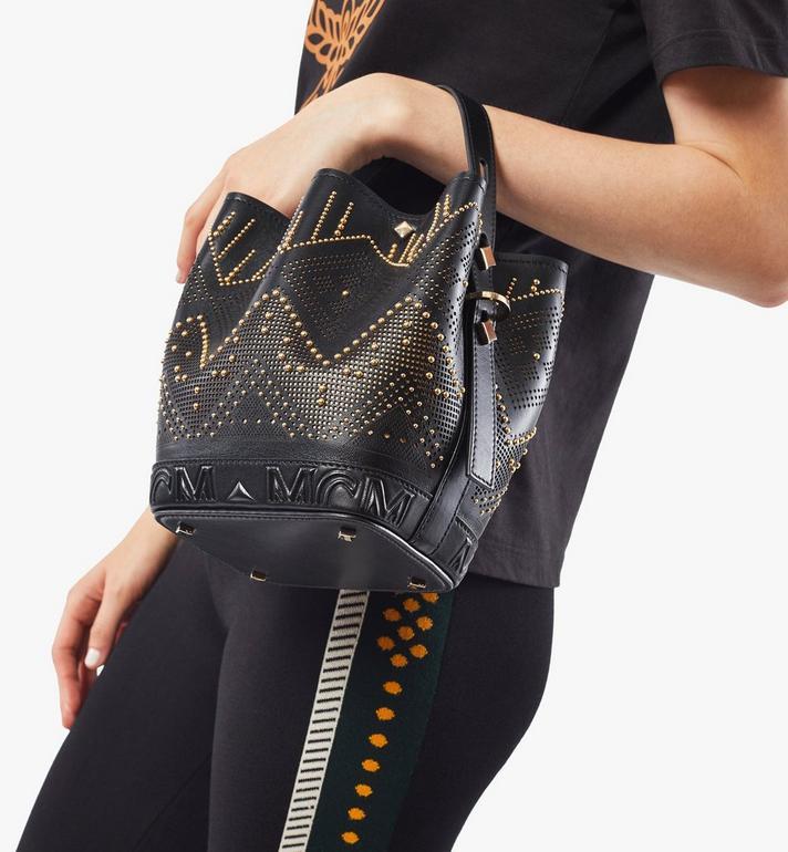 MCM Milano Lux Drawstring Bag in Studded Leather Black MWDAADA04BK001 Alternate View 7