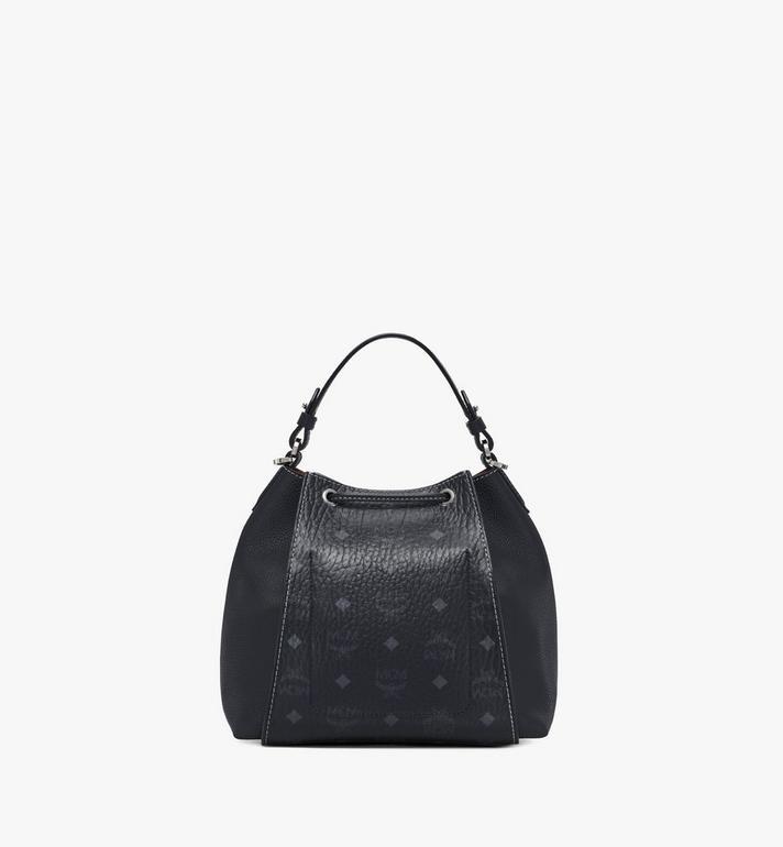 MCM Luisa Drawstring Bag in Visetos Leather Block Black MWDAALZ01BK001 Alternate View 4