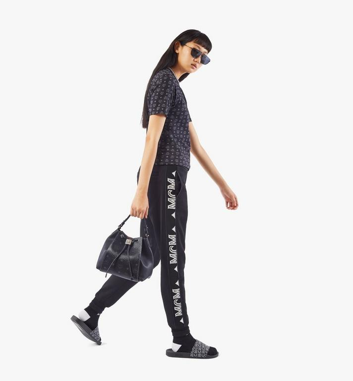 MCM Luisa Drawstring Bag in Visetos Leather Block Black MWDAALZ01BK001 Alternate View 6