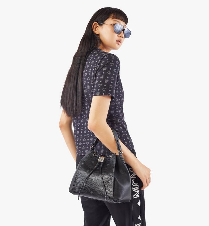 MCM Luisa Drawstring Bag in Visetos Leather Block Black MWDAALZ01BK001 Alternate View 7
