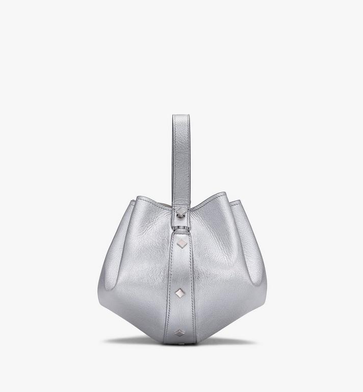 MCM Candy Drawstring Bag in Metallic Goat Leather Silver MWDASCY04SE001 Alternate View 2
