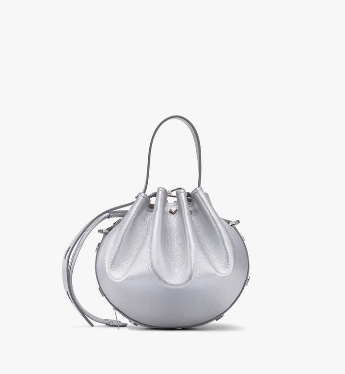 MCM Candy Drawstring Bag in Metallic Goat Leather Silver MWDASCY04SE001 Alternate View 3
