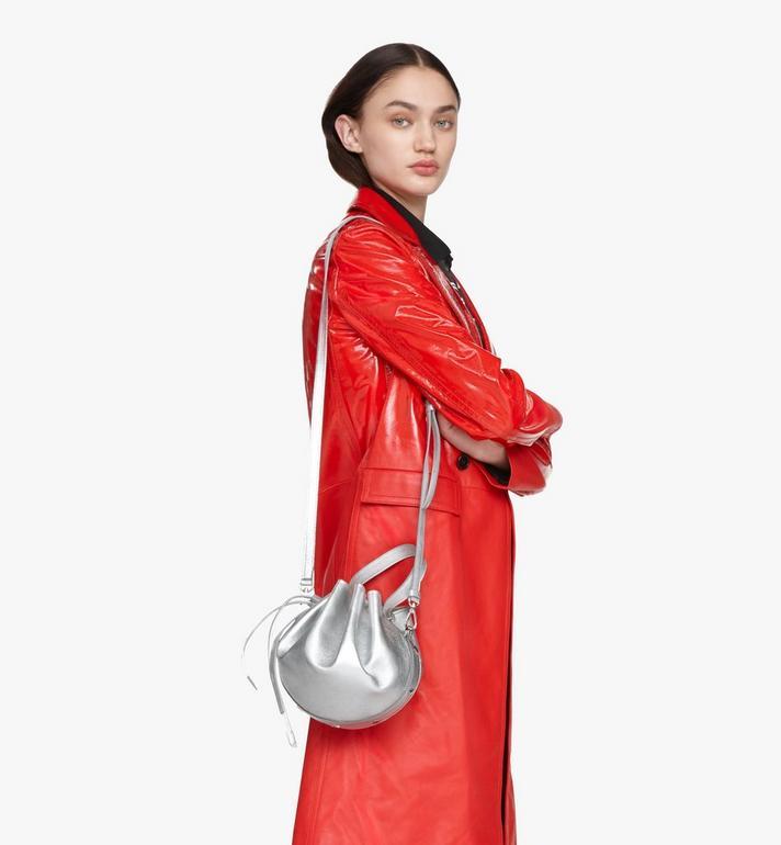 MCM Candy Drawstring Bag in Metallic Goat Leather Silver MWDASCY04SE001 Alternate View 5