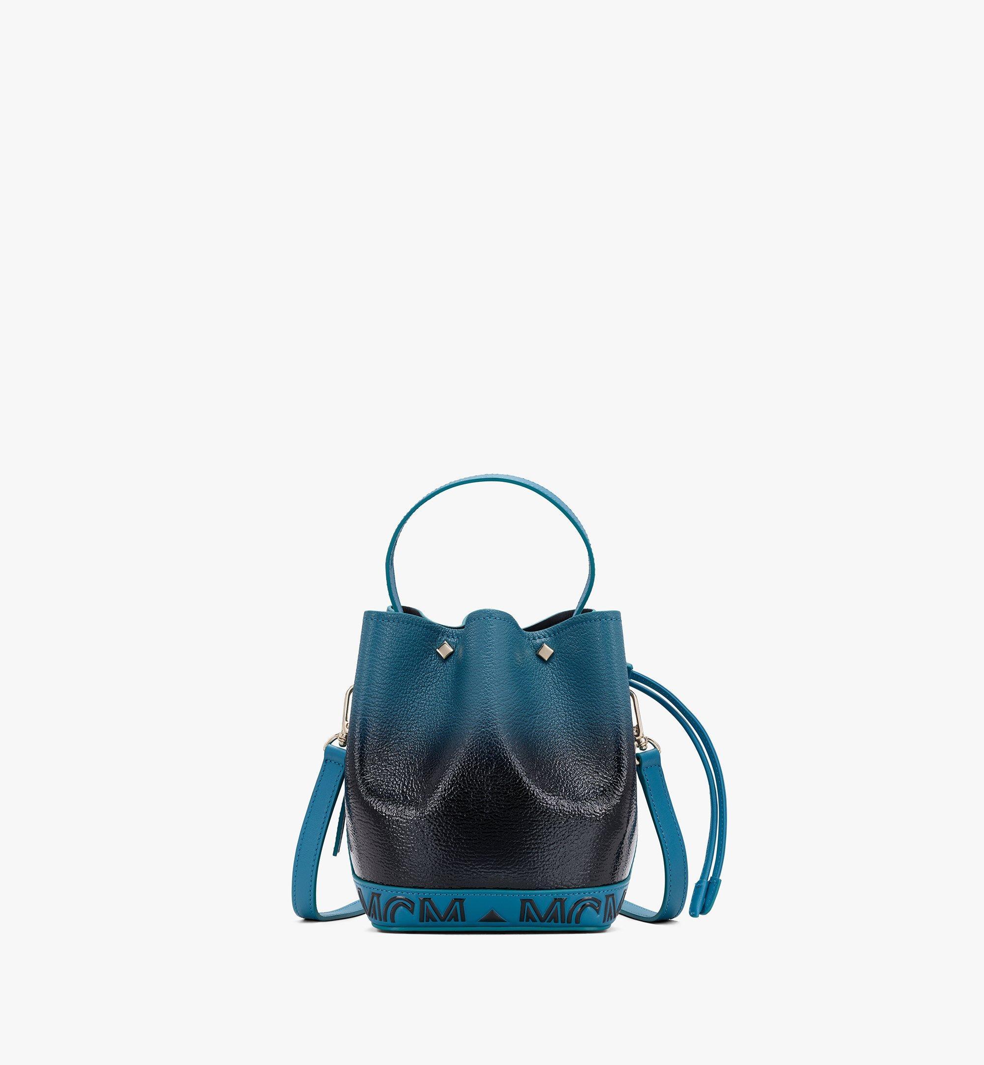 MCM Milano Drawstring Bag in Patent Leather Gradient Black MWDASDA01BK001 Alternate View 1