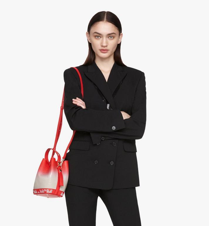 MCM Milano Drawstring Bag in Patent Leather Gradient Grey MWDASDA01FJ001 Alternate View 6