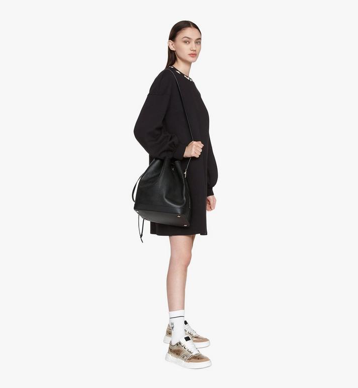 MCM Milano Drawstring Bag in Goatskin Leather Black MWDASDA02BK001 Alternate View 6
