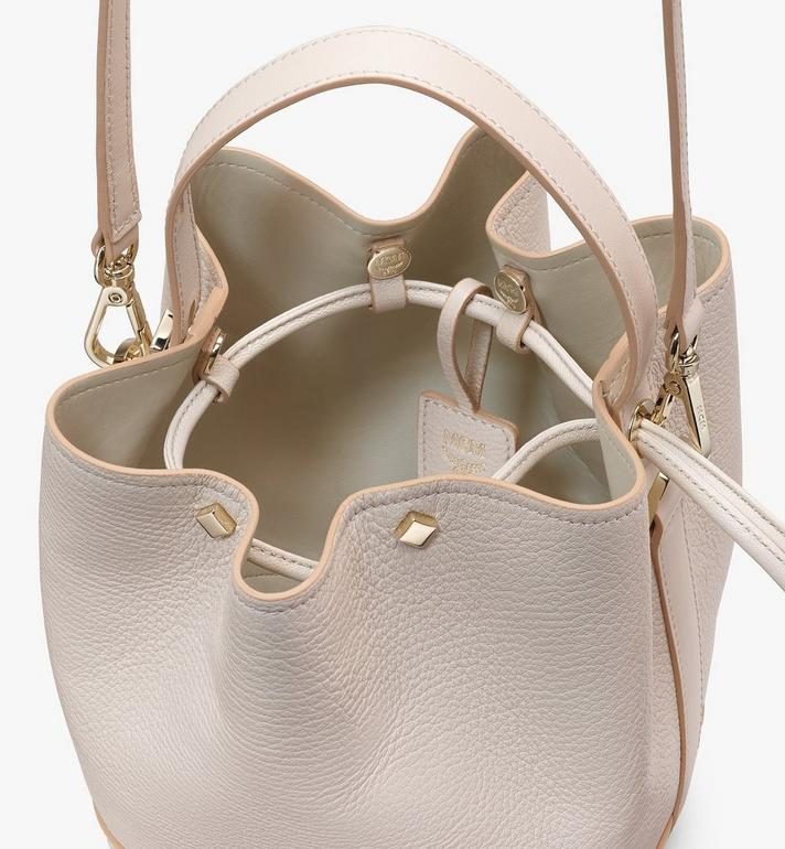 MCM Milano Drawstring Bag in Goatskin Leather Pink MWDASDA03IH001 Alternate View 4