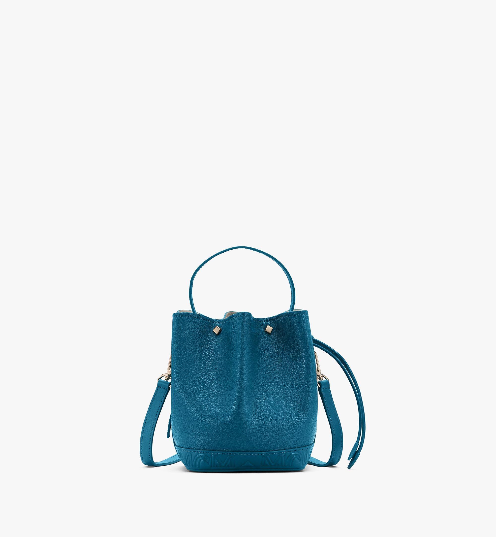 MCM Milano Drawstring Bag in Goatskin Leather Green MWDASDA03JF001 Alternate View 1