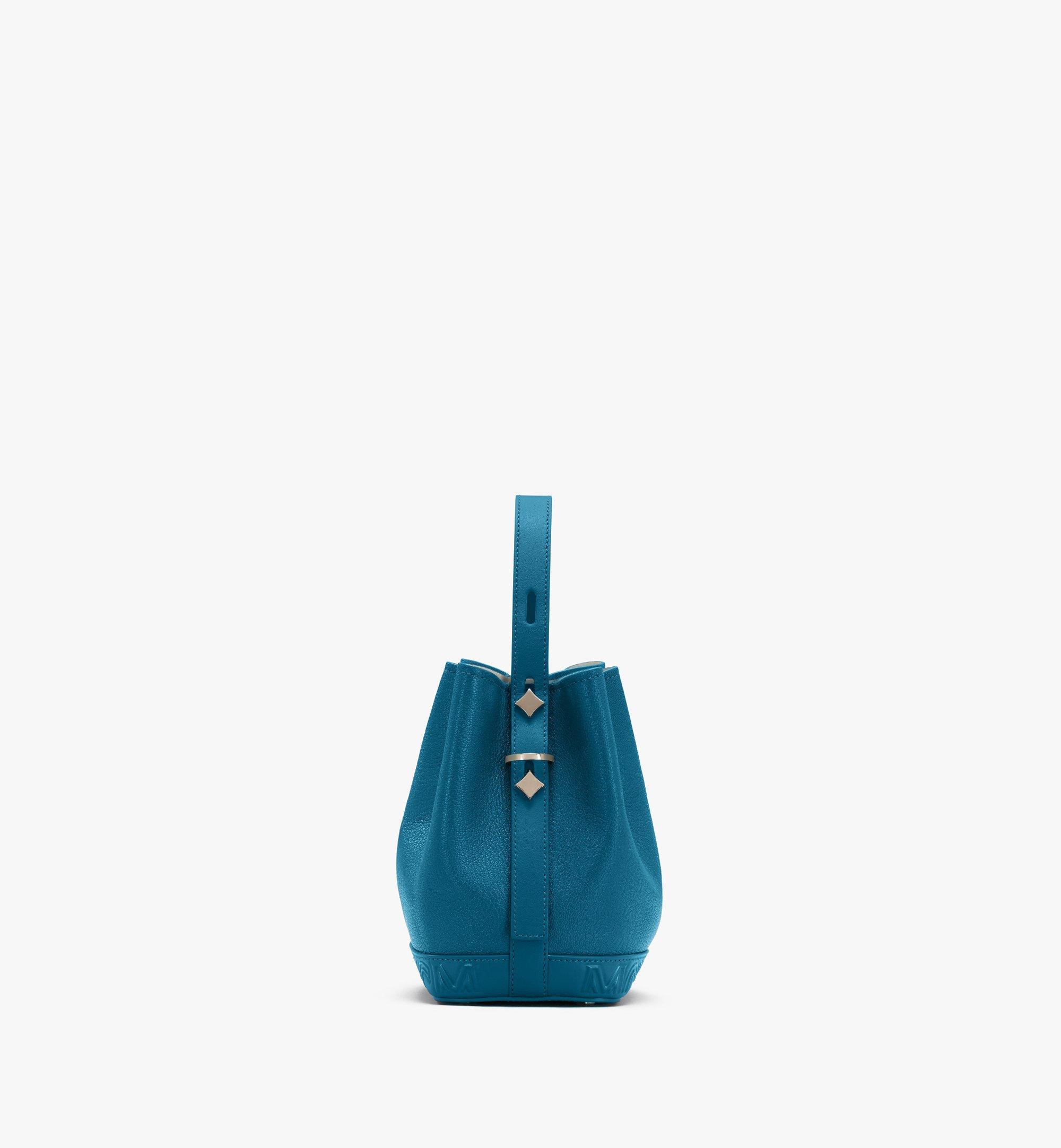 MCM Milano Drawstring Bag in Goatskin Leather Green MWDASDA03JF001 Alternate View 2