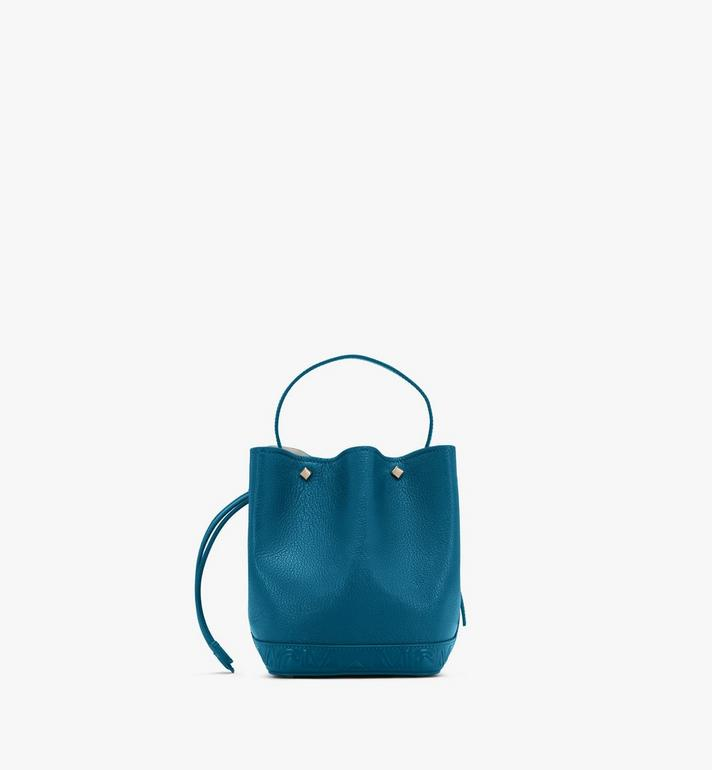 MCM Milano Drawstring Bag in Goatskin Leather Blue MWDASDA03JF001 Alternate View 3