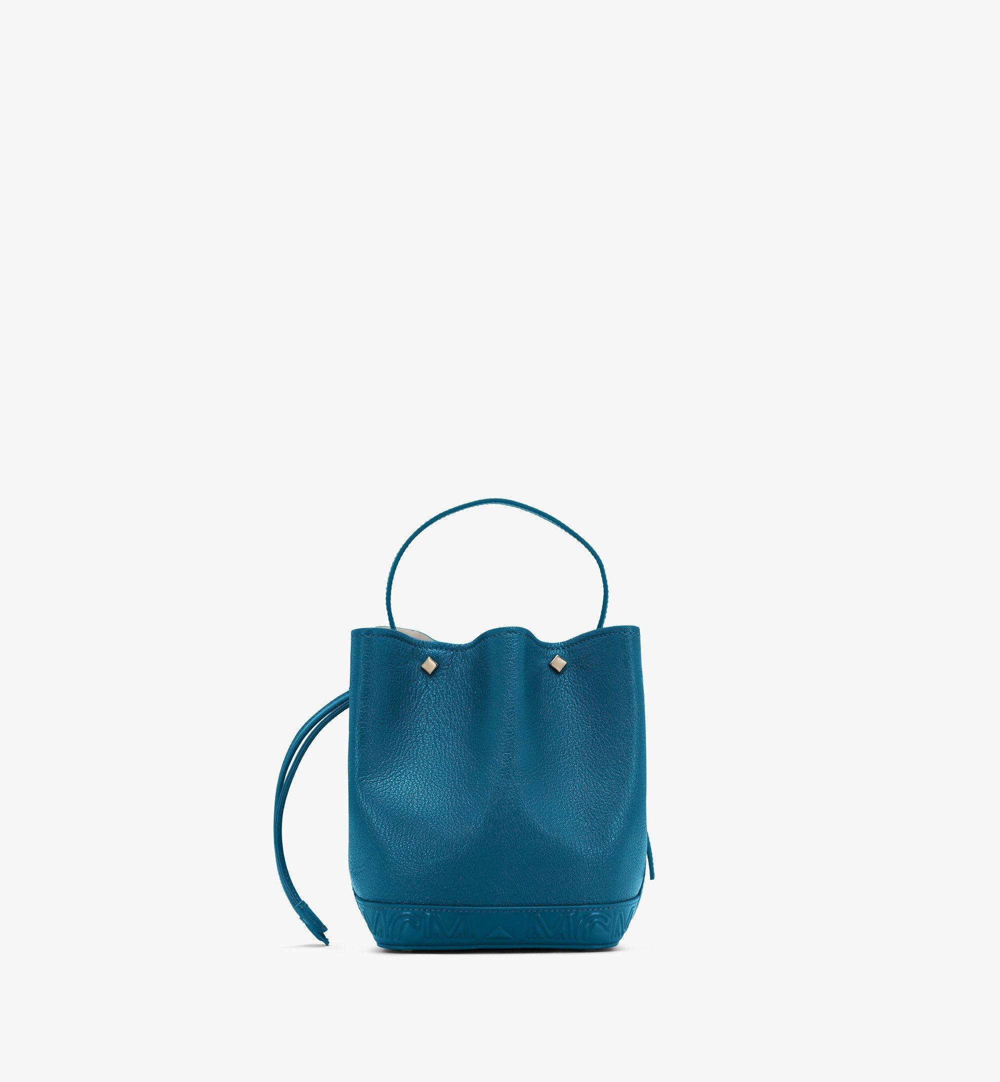 MCM Milano Drawstring Bag in Goatskin Leather Green MWDASDA03JF001 Alternate View 3
