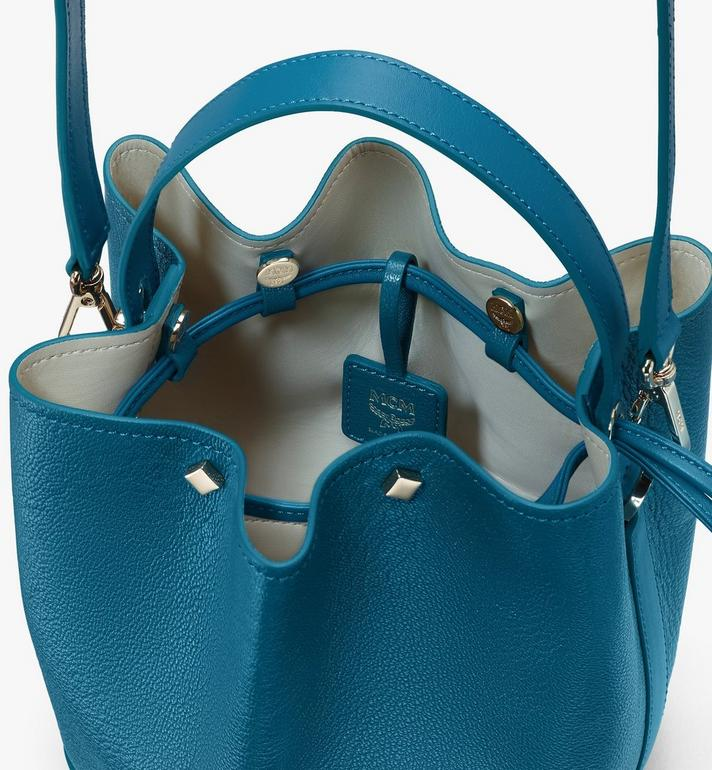 MCM Milano Drawstring Bag in Goatskin Leather Blue MWDASDA03JF001 Alternate View 4