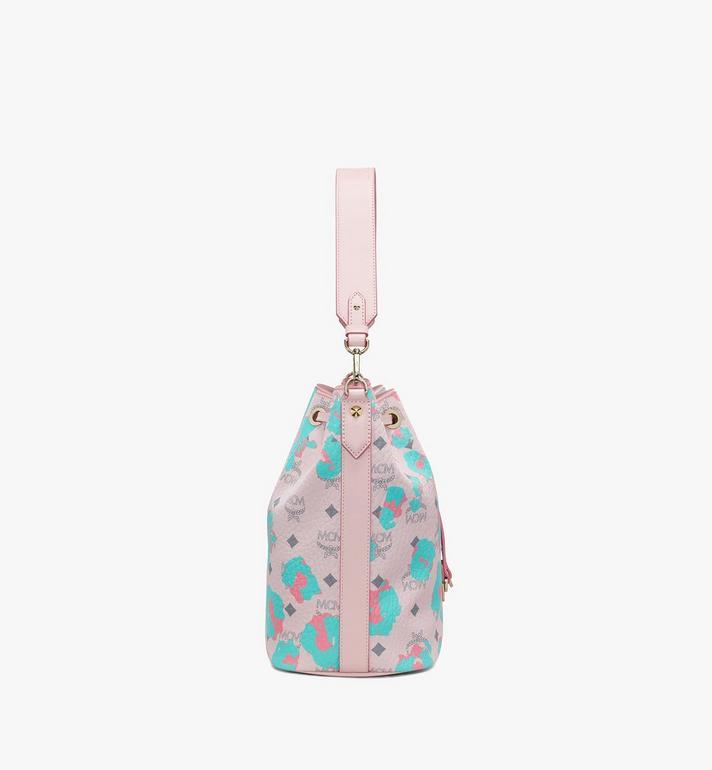 MCM Essential Drawstring Bag in Floral Leopard Pink MWDASSE01QI001 Alternate View 2