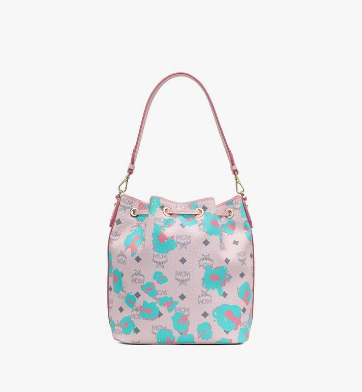 MCM Essential Drawstring Bag in Floral Leopard Pink MWDASSE01QI001 Alternate View 3
