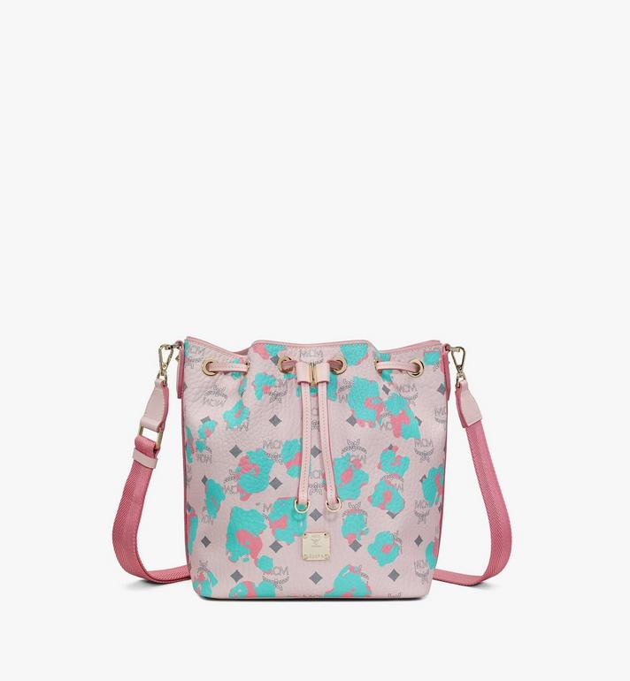 MCM Essential Drawstring Bag in Floral Leopard Pink MWDASSE01QI001 Alternate View 4