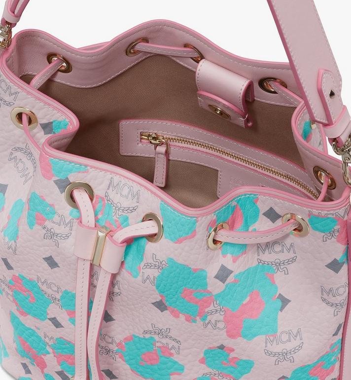 MCM Essential Drawstring Bag in Floral Leopard Pink MWDASSE01QI001 Alternate View 5