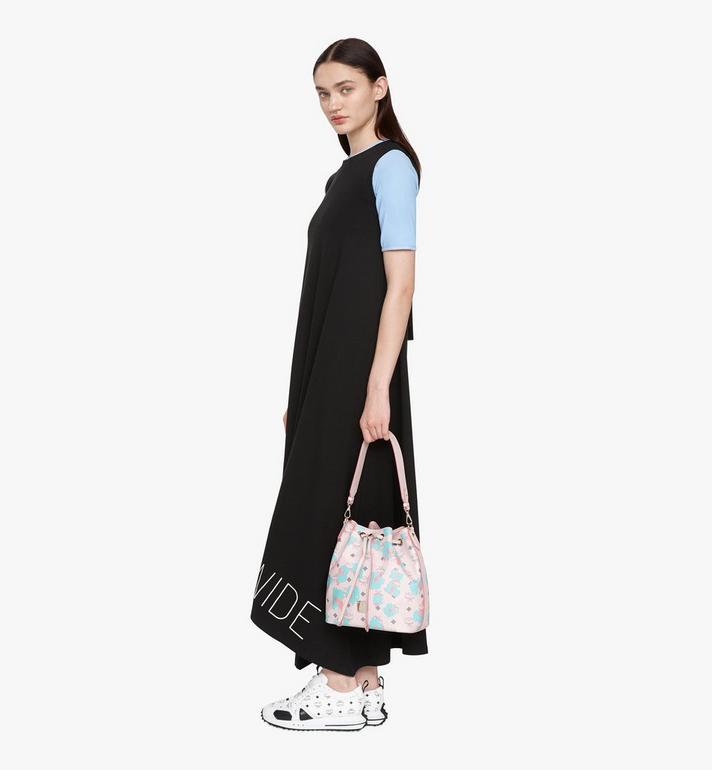 MCM Essential Drawstring Bag in Floral Leopard Pink MWDASSE01QI001 Alternate View 6