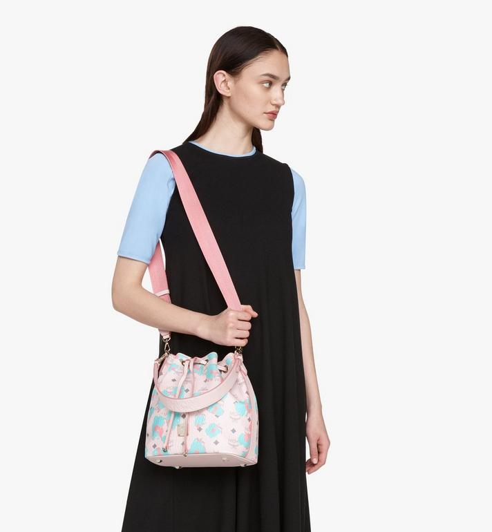 MCM Essential Drawstring Bag in Floral Leopard Pink MWDASSE01QI001 Alternate View 7