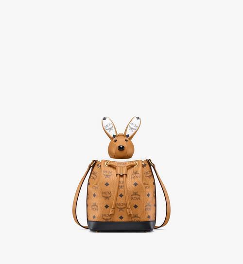 MCM Zoo Rabbit Drawstring Bag in Visetos Leather Mix