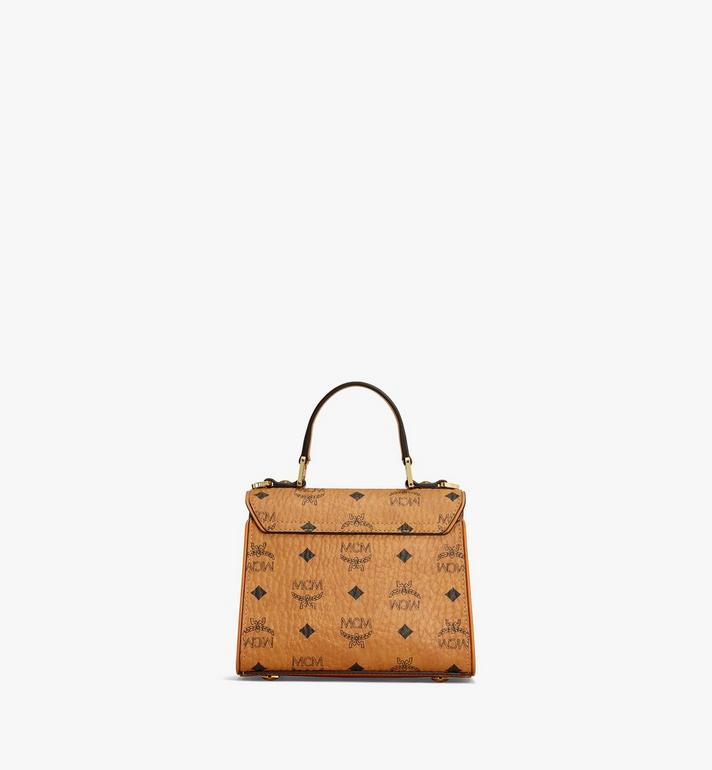 MCM Heritage Satchel in Visetos Cognac MWE6AVI63CO001 Alternate View 4
