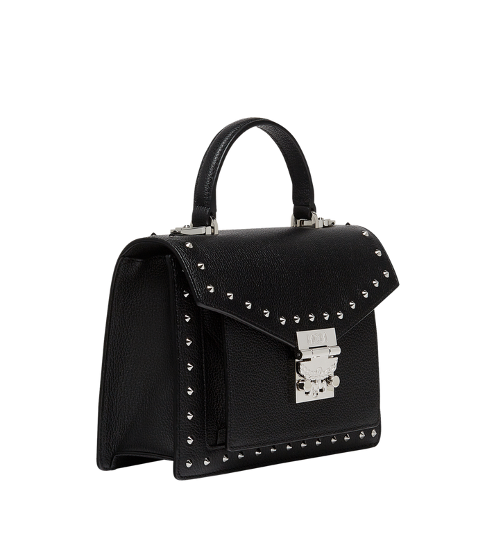 MCM Patricia Satchel in Studded Outline Leather  MWE8APA51BK001 Alternate View 2